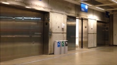 opening and closing doors in modern elevator - stock footage