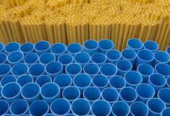 Yellow and blue pvc pipes Stock Photos