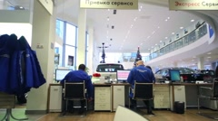 Back of employees in Volkswagen Center Varshavka Stock Footage