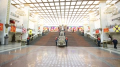 Guard in Warlords hall of museum of Great Patriotic War Stock Footage