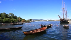 Old Traditional Boats in Oslo Harbor Norway Stock Footage