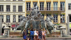 La Fontaine Bartholdi (2) - Lyon France Stock Footage