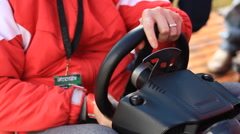 Man Playing a video game race car 2 Stock Footage
