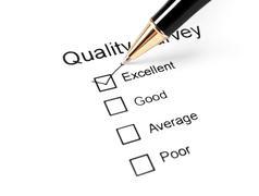 quality survey questionnaire and pen - stock photo