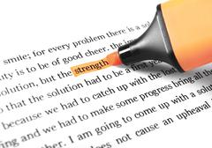 Stock Photo of highlighter and word strength
