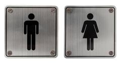Metal restroom signs Stock Photos