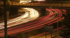 Interstate 5 Freeway At Night Stock Photos