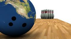 Earth Bowling! - stock illustration