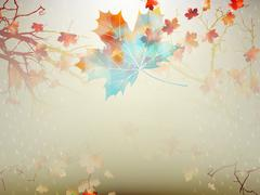 Autumnal maple leaf made of triangles. EPS 10 - stock illustration