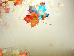 Stock Illustration of Autumnal maple leaf made of triangles. EPS 10