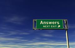 Answers - Next Exit Freeway Sign - stock illustration