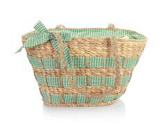 unique green wicker bag - stock photo