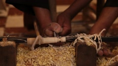 Intricate wood working for kebab sticks Stock Footage