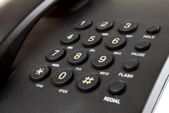 close up digital desk phone - stock photo