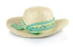 Stock Photo of a straw hat with a green ribbon