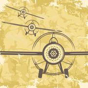 Stock Illustration of vintage grunge postcard design with plane. vector