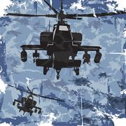 Army grunge background with helicopter. Vector - stock illustration