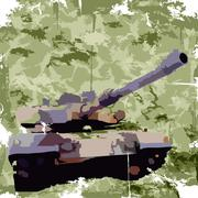 Stock Illustration of Army background with tank. Apparel print. Vector