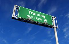 Training - Freeway Exit Sign Stock Illustration