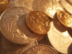 Gold And Silver U.S. Bullion Coins - stock photo