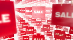 Many Shopping Sale Bag moving loop on white background Stock Footage
