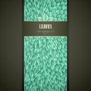 Green Leaves Label - stock illustration