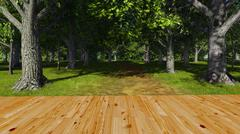 Wooden floor in a green forest 1 Stock Illustration