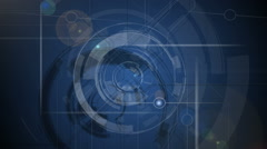 Blue tech background. Rotating elements, lines and shining blue center. Full HD Stock Footage
