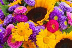 Posy of mixed autumn flowers Stock Photos