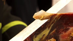 Slicing of jamon. Close up. Stock Footage