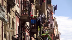Underwear drying on the rope at the balcony of a house. Barcelona Stock Footage