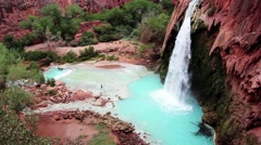 Havasu Falls, Havasupai Indian Reservation, Grand Canyon Stock Footage