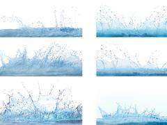 Mixed form of splashing clear and clean  water on white background use for re Stock Photos