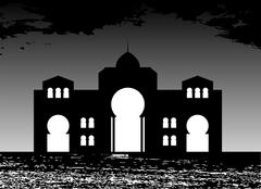 Silhouette of Arab buildings, sea, clouds. - stock illustration