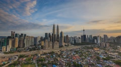 Time Lapse: Day to Night of cityscape (Kuala Lumpur) Stock Footage