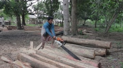 Sawing Planks in Cambodia Stock Footage