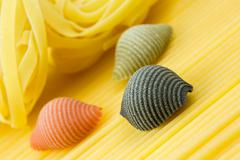 closeup shoot of different types of pasta - stock photo