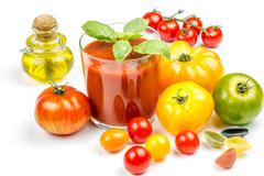 tomato juice and fresh tomatoes - stock photo