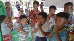 Children Learn to Sing Songs in Cambodia Stock Footage