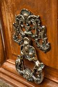 wooden door closeup - stock photo