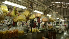 Bangkok flower market short pan Stock Footage