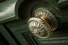 green door closeup - stock photo