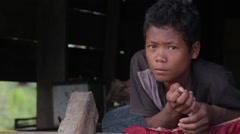 Khmer Boy Looks at Camera Stock Footage