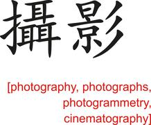Chinese Sign for photography, photographs,cinematography - stock illustration