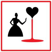 elegant black silhouette of woman with hearts - stock illustration