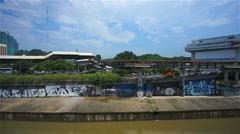 View from Pasar Seni LRT station Kuala Lumpur, Malaysia, time-lapse Stock Footage