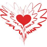 Fantastic variation with red heart Stock Illustration