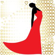black silhouette of  beautiful woman in red dress - stock illustration