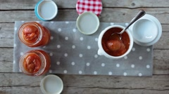 Stock Video Footage of Apricots Marmalade Jars, Overhead Shot Video
