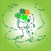 Portrait beautiful green girl ireland shamrocks Stock Illustration